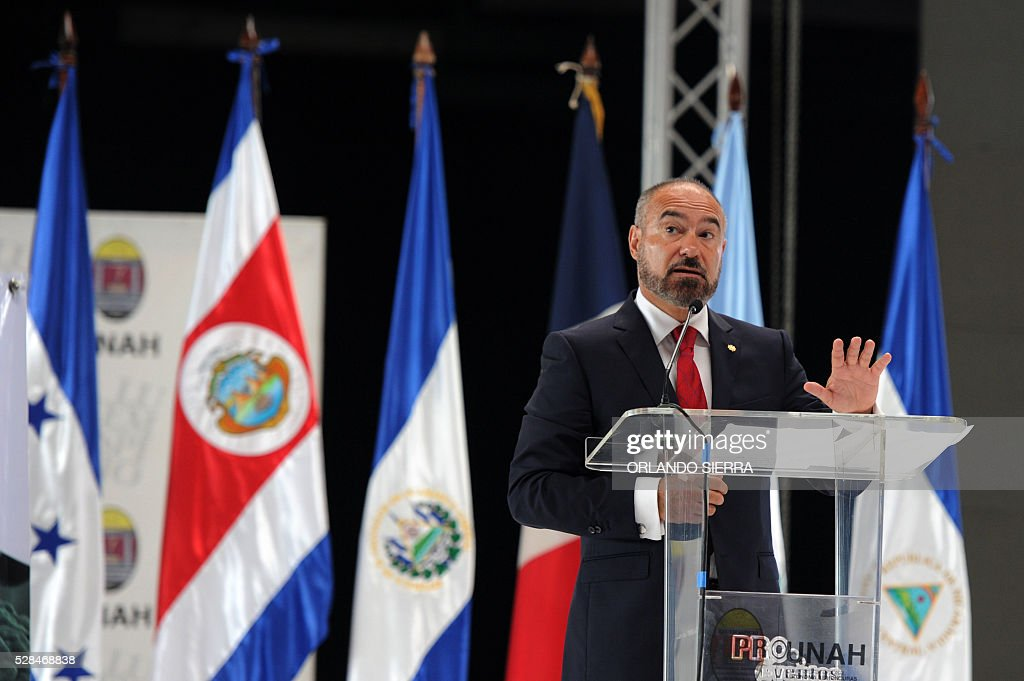 French ambassador to Honduras Pierre-Christian Soccoja, delivers a speech during the First Symposium on Dengue, Chikungunya and Zika, in Tegucigalpa on May 5, 2016. A bacterium known as Wolbachia, which is fairly common in insects, can reduce mosquitoes' ability to spread the Zika virus, researchers in Brazil said on May 4. Similar tests have previously been done using the bacteria to slow the spread of dengue fever and chikungunya. / AFP / ORLANDO