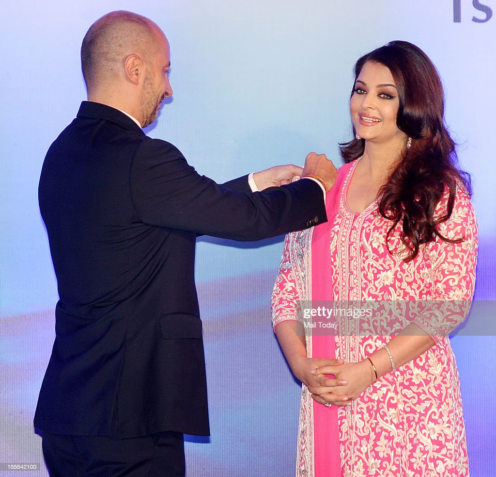 French Ambassador to India, Francois Richier conferring the French civilian award, Officer Dan Ordre Arts et des Lettres to Aishwarya Rai Bachchan at a function in Mumbai on Thursday.