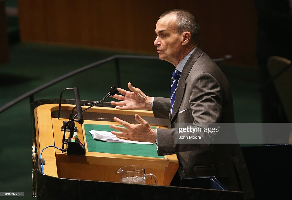 French Ambassador to the United Nations Gerard Araud speaks ahead of a vote at the United Nations calling for a political transition in Syria on May 15, 2013 in New York City. The 193-member UN General Assembly was to vote on an Arab-backed resolution condemning the regime of Syrian President Bashar Assad for human rights abuses and its escalating use of heavy weapons in the country's civil war.