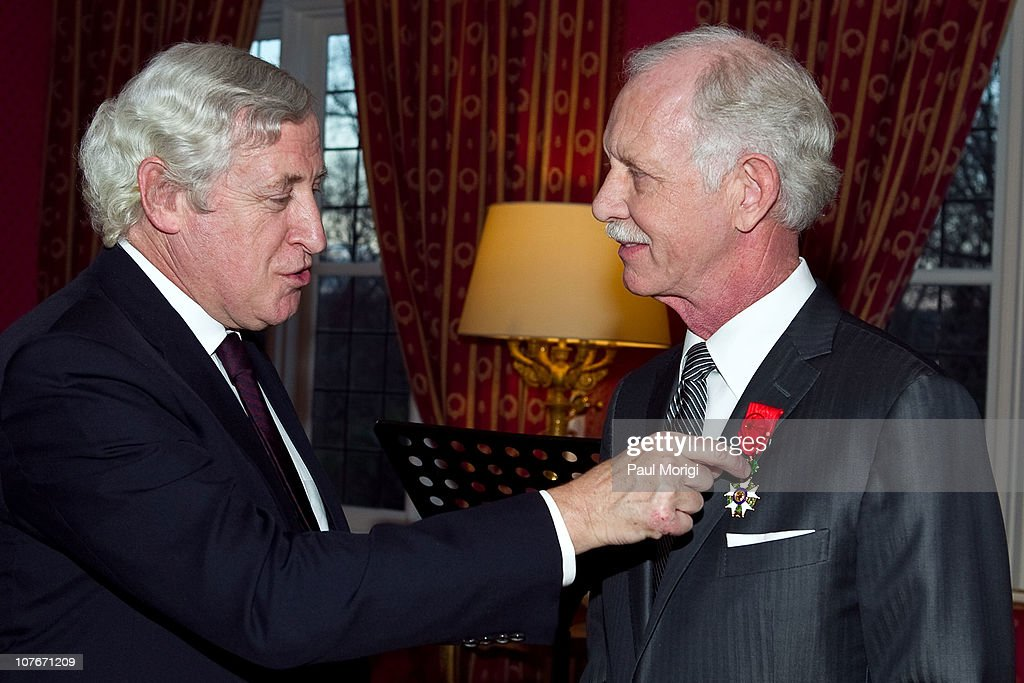 French Ambassador to the United States Pierre Vimont presents US Airways Capt. Chesley 'Sully' Sullenberger (Ret.) (R) the National Order of the Legion of Honour Officier Award at the French Ambassador's Residence on December 17, 2010 in Washington, DC.