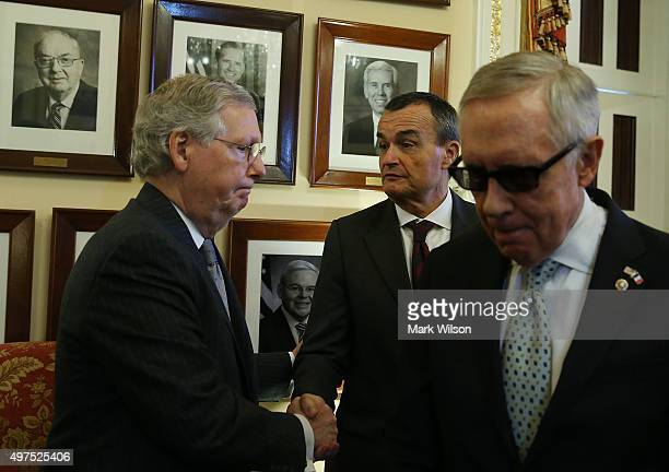 French Ambassador to the US Gerard Araud meets with Senate Majority Leader Mitch McConnell and Senate Minority Leader Harry Reid after senators...