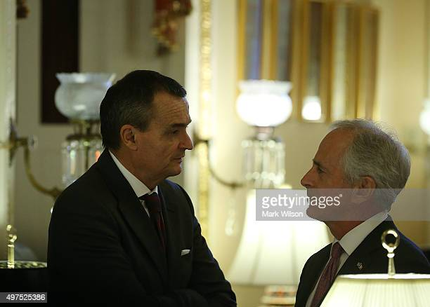 French Ambassador to the US Gerard Araud talks with Senate Foreign Relations Committee Chairman Bob Corker after senators gathered to sign a...