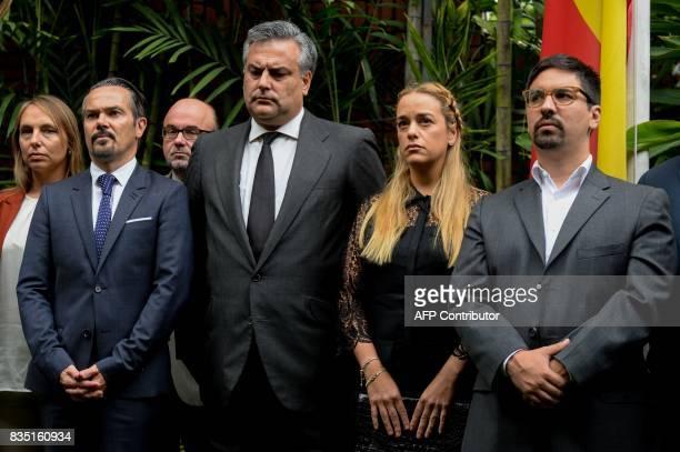 French ambassador to Venezuela Romain Nadal Spanish ambassador to Venezuela Jesus Silva Lilian Tintori wife of Venezuela's currently under house...
