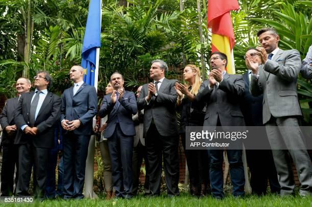 French ambassador to Venezuela Romain Nadal Spanish ambassador to Venezuela Jesus Silva Lilian Tintori wife of the Venezuela's currently under house...
