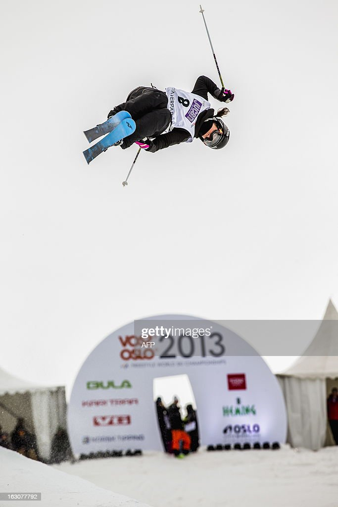 French Anais Caradeux competes during the qualification race for the FIS ladies Freestyle Halfpipe Skiing World Cup in Oslo-Tryvann, Norway on March 4, 2013. The actual competition will take place on March 5, 2013. AFP PHOTO / SCANPIX/ STIAN LYSBERG SOLUM NORWAY OUT