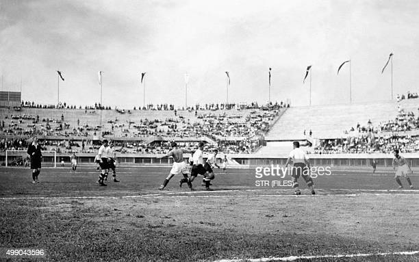 French and Austrian football players fight for the ball during the World Cup first round soccer match between Austria and France on May 27 1934 in...