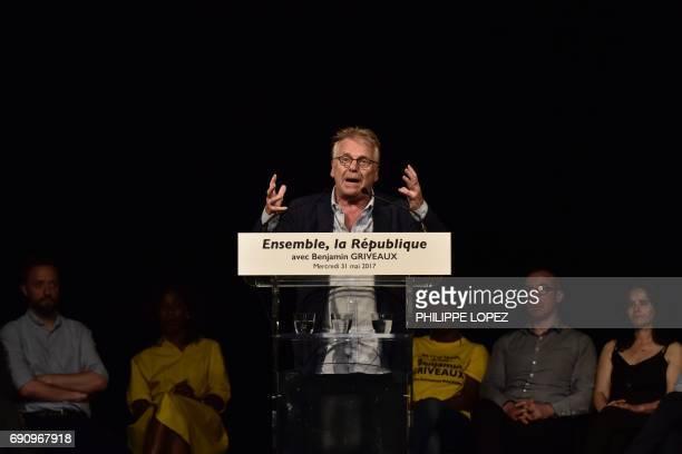 French and German former European MP Daniel CohnBendit delivers a speech during a campaign meeting of La Republique En Marche's spokesperson for the...