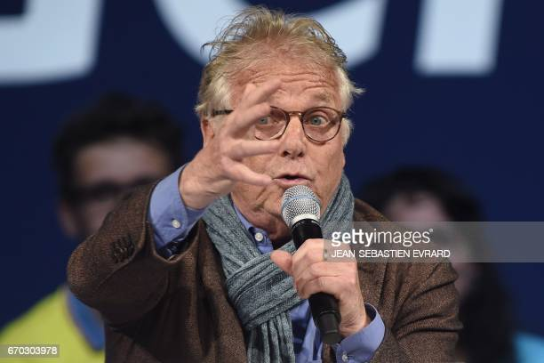 French and German former European parliamentarian and ecologist Daniel CohnBendit gestures as he delivers a speech during a campaign meeting in...