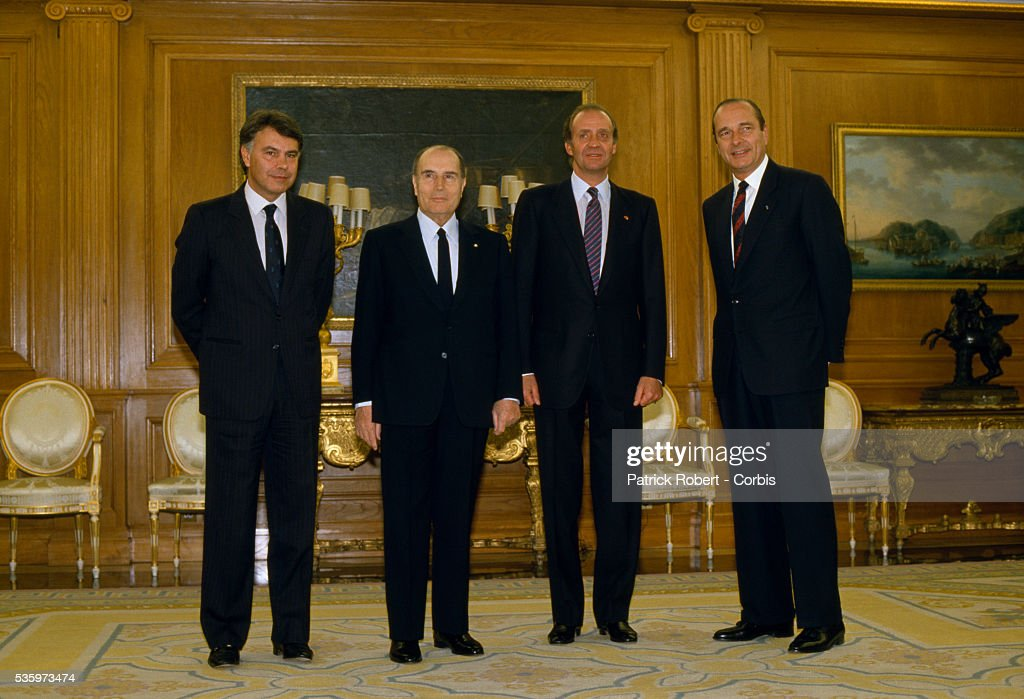 French and Spanish leaders meet in Madrid for the 1987 Franco-Spanish Summit. (L-R): Spanish Prime Minister Felipe Gonzalez, French President Francois Mitterrand, King of Spain Juan Carlos, and French Prime Minister Jacques Chirac.   Location: Madrid, Spain.