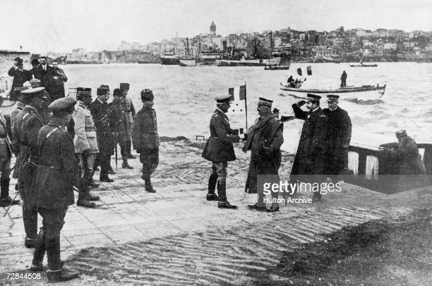 French and Turkish military officials meeting in Turkey after the defeat of the Ottoman Empire in World War I December 1918 Original publication...