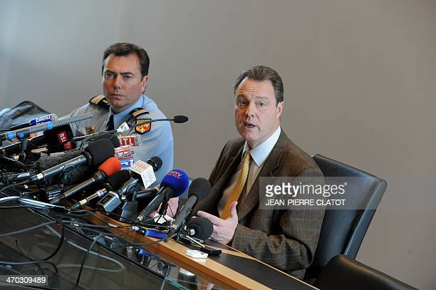 French Annecy's prosecutor Eric Maillaud and French gendarmerie's lieutenant colonel Benoit Vinneman give a press conference on the French Alps...