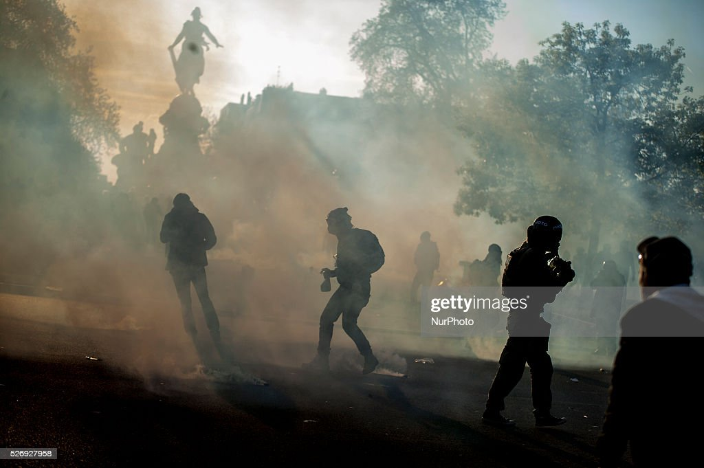 French anti riot police clash with protesters during the traditional May Day demonstration in Nationa Square in Paris on May 1, 2016.