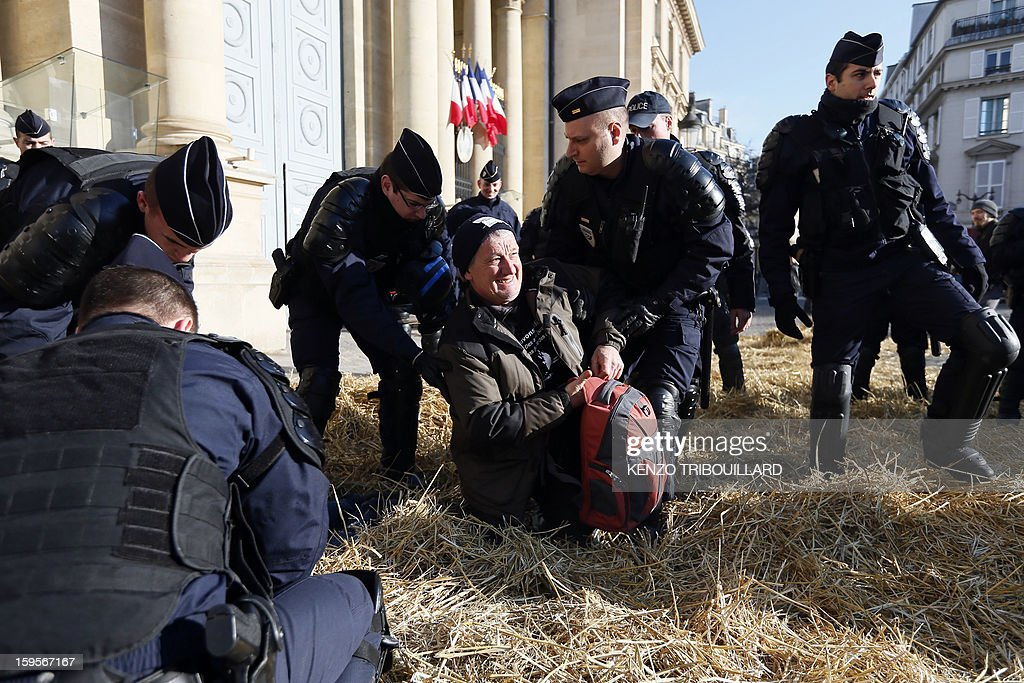 French anti-riot police evacuate a demonstrator of the French farmers union 'Confederation Paysanne' seated in the straw during a protest in front of the French National Assembly, on January 16, 2013 in Paris, against breeding conditions in France. They denounced the increasing prices of basic products for the cattle.