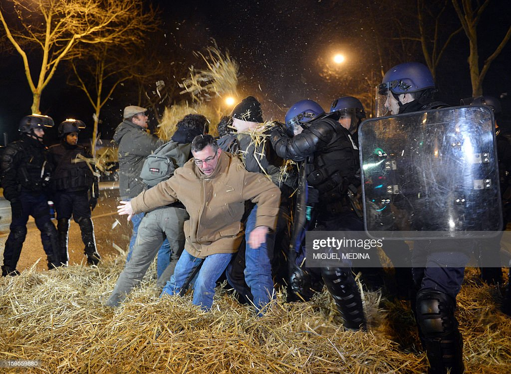 French antiriot policemen try to evacuate farmers early on January 16, 2013 in Paris, near and the Agriculture ministry and the Prime Minister official residence, the Hotel Matignon, during a protest called by farmers union FNSEA against new constraints arising from the applications of European Union rules against nitrates. A new map identifies 'vulnerable areas' to nitrates which require special protection to not pollute water resources. AFP PHOTO MIGUEL MEDINA