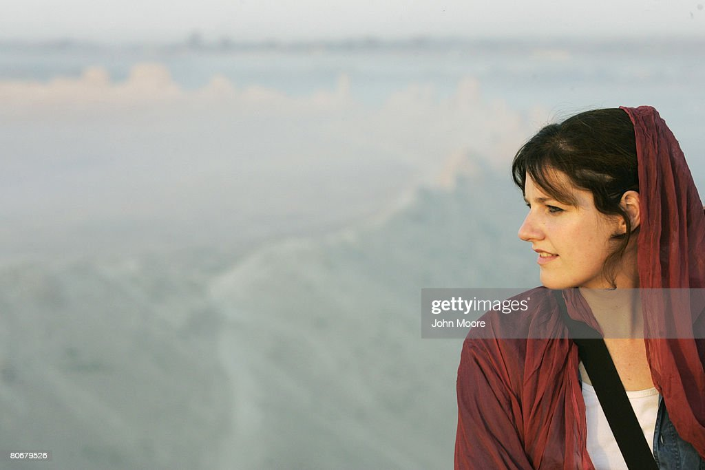 French archaeologist Vanina Houlette looks out from the wall of the ancient Bala Hizar fortress of Balkh on October 12 in Afghanistan The French...