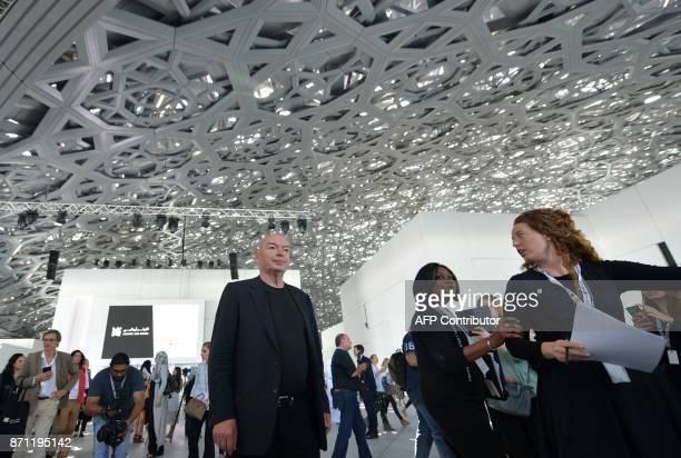 French architect Jean Nouvel walks under the dome at the Louvre Abu Dhabi Museum on November 7 on the eve of the official opening of the museum on...