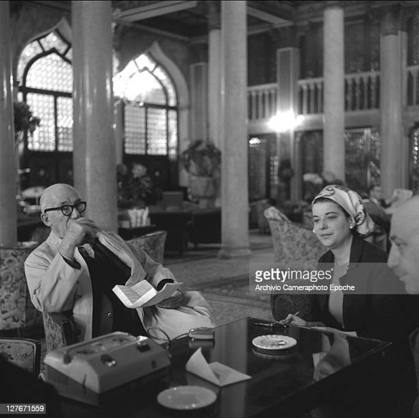 French architect Le Corbusier during an interview Venice 1965
