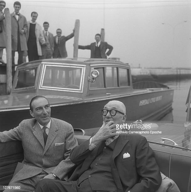 French architect Le Corbusier on a water taxi Venice 1965