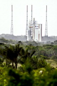 French Ariane rocket stands at the Arianespace launch site on March 30 2011 in Kourou French Guiana The launch of the Ariane rocket carrying the...