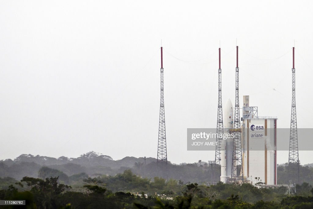 French Ariane rocket stands at the Arianespace launch site on March 30, 2011 in Kourou, French Guiana. The launch of the Ariane rocket carrying the Yahsat Y1A for Al Yah Satellite Communications Company of the United Arab Emirates, and Intelsat New Dawn for New Dawn Satellite Company, was aborted because of a technical hitch at the scheduled moment of liftoff.