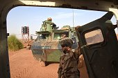 French armoured vehicles are seen at their base near Goa 320 km east southeast of Timbuktu on January 2 part of the Barkhane Operation Goa was...