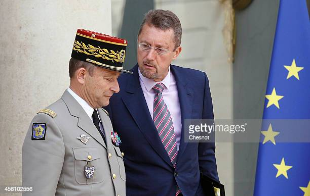 French Army Chief of Staff General Pierre de Villiers and Head of French Intelligence Services Bernard Bajolet leave the Elysee Palace after an...