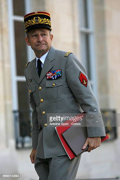 French Army Chief of Staff General Pierre de Villiers arrives at the at Elysee palace to attend an emergency meeting of the defense council with...