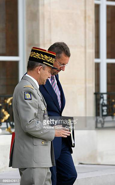 French Army Chief of Staff General Pierre de Villiers leaves with the head of French Intelligence Services Bernard Bajolet at the presidential Elysee...