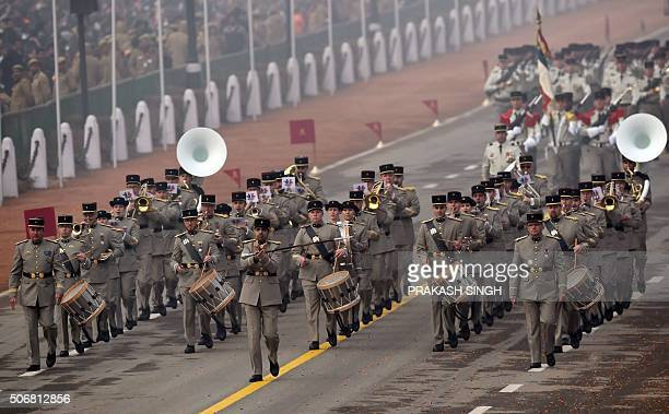 A French Army contingent marches past during India's Republic Day Parade in New Delhi on January 26 2016 Thousands gathered in New Delhi amid tight...