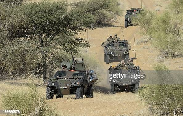 French army convoy patrol in the desert during the Operation Hydra on October 31 near the village of Bamba between Timbuktu and Gao in northern Mali...