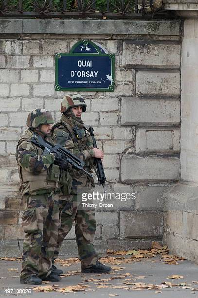 French Army in front of the nationale assembly the day after a deadly attack on November 14 2015 in Paris France At least 127 people have been killed...