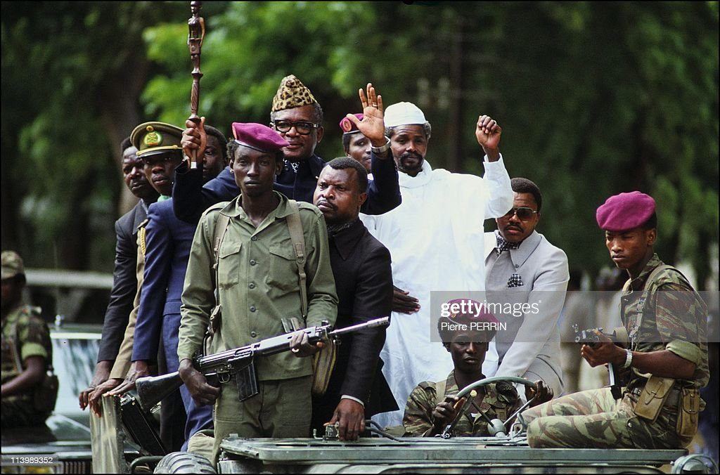 French army In N'Djamena, Chad On August 22, 1983-Hissein Habre, <a gi-track='captionPersonalityLinkClicked' href=/galleries/search?phrase=Mobutu+Sese+Seko&family=editorial&specificpeople=211505 ng-click='$event.stopPropagation()'>Mobutu Sese Seko</a>.