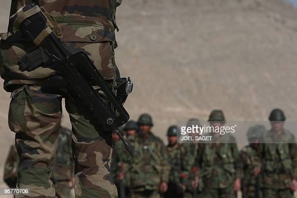 A French army instructor addresses Afghan National Army trainee officers during training with the French army within the framework of Epidote...
