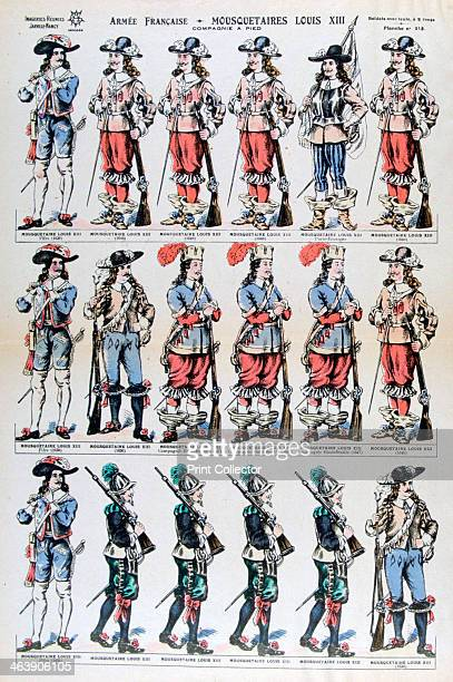 French Army musketeers of Louis XIII 17th century French foot soldiers A print from Imageries Réunies JarvilleNancy 19th century