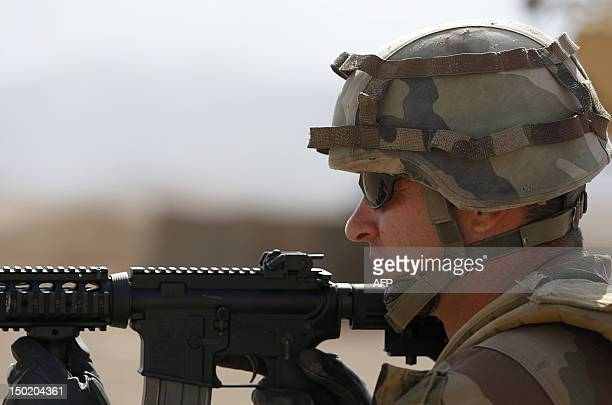 A French army soldier holds position during trainings and tactical manoeuvres operated by French Army's mentors members of the 'Epidote' unit for...