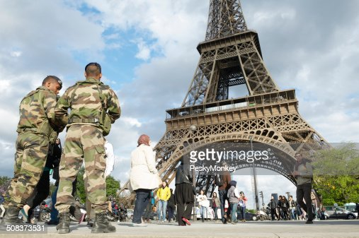 French Army Soldiers Patrol Eiffel Tower Paris