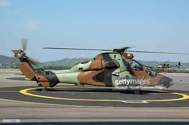 French Army Tigre attack helicopter on the base at Le Luc, France.
