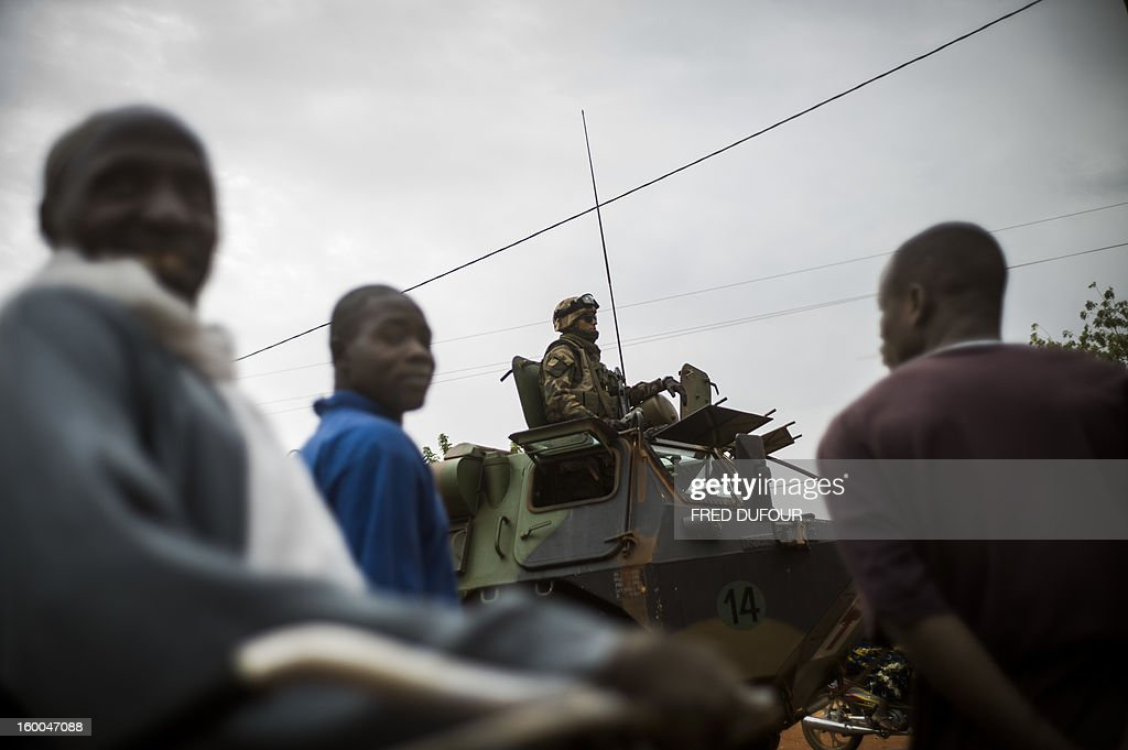 French army troopers arrive at the base camp in Sevare on January 25, 2013. French and Malian troops advanced on the key Islamist stronghold of Gao after recapturing the northern town of Hombori as the extremists bombed a strategic bridge to thwart a new front planned in the east. The French-led assault against the radical Islamists controlling northern Mali entered its third week with a strong push into the vast semi-arid zone amid rising humanitarian concerns for people in the area facing a dire food crisis.