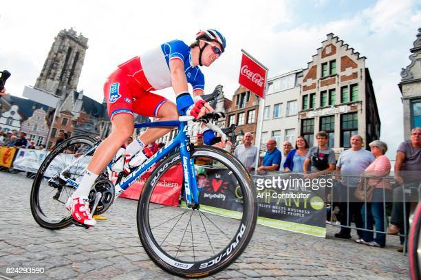 French Arnaud Demare of FDJ rides his bike during the third edition of the 'Maneblusser Natourcriterium' cycling race in Mechelen on July 29 2017 The...