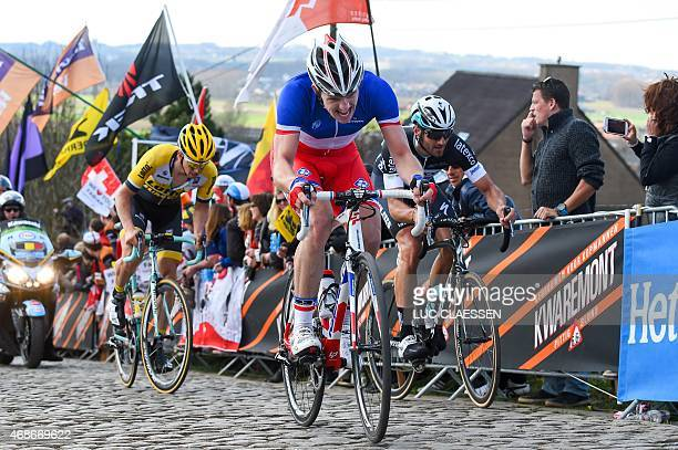 French Arnaud Demare of team FDJ competes during the 99th Tour of Flanders' one day 2642 kms cycling race from Brugge to Oudenaarde on April 5 2015...