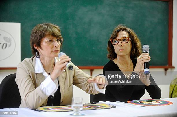 French art critic Catherine Millet and French artist Sophie Calle attend a press conference during the third day of the Paraty International Literary...