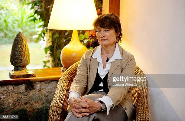 French art critic Catherine Millet poses for a portrait during the Paraty International Literary Festival on July 3 2009 in Paraty Brazil