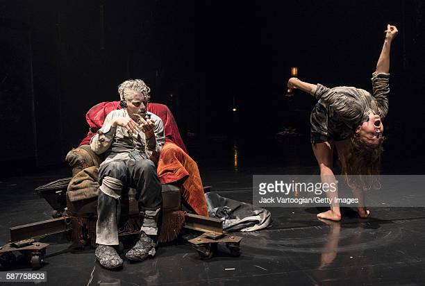 French artist James Thierree and Canadian contortionist Valery Doucet both of the La Compagnie du Hanneton perform in the final dress rehearsal of...
