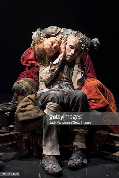 French artist James Thierree and Canadian contortionist Valery Doucet both of La Compagnie du Hanneton perform in the final dress rehearsal of 'Tabac...