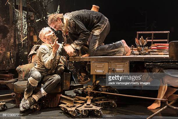 French artist James Thierree and Swedish actor Magnus Jakobsson both of the La Compagnie du Hanneton perform in the final dress rehearsal of 'Tabac...