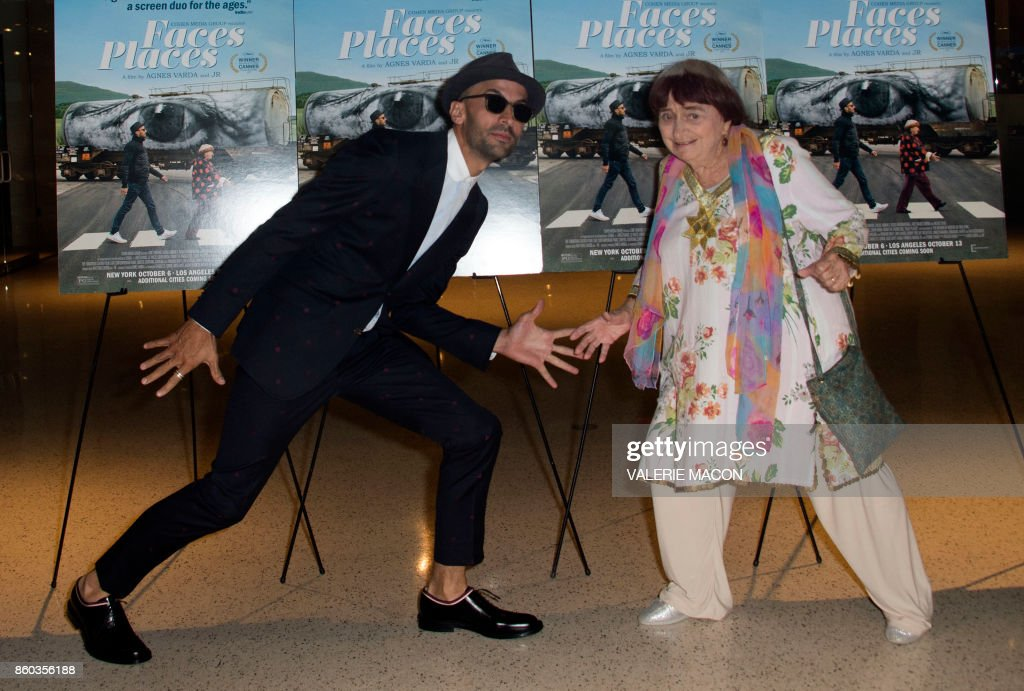 TOPSHOT - French artist JR (L) and director Agnes Varda attend the premiere of 'Faces Places' at the Pacific Design Center, on October 11, 2017, in West Hollywood, California. /