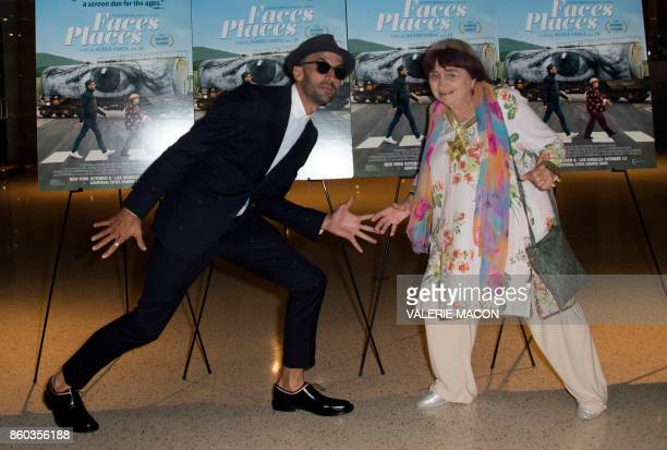 TOPSHOT French artist JR and director Agnes Varda attend the premiere of 'Faces Places' at the Pacific Design Center on October 11 in West Hollywood...