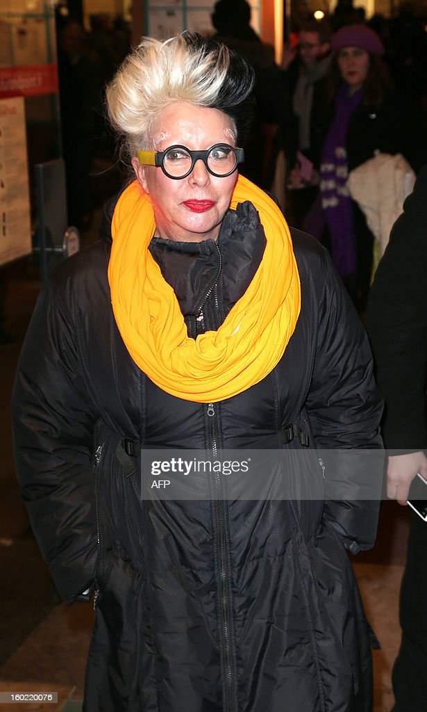 French artist Mireille Suzanne Francette Porte aka Orlan arrives for a special event gathering artists and celebrities in support of French government plans to legalise gay marriage and same-sex adoption on January 27, 2013 in Paris, two days before parliament takes up the text, which has been met with strong opposition from the right and the Catholic Church.