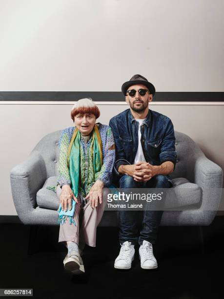 French Artists Agnes Varda and JR are photographed for Self Assignment on May 20 2017 in Cannes France