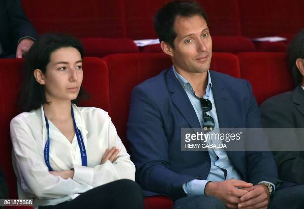 French astronaut Thomas Pesquet and Adelaide Thomas of European Space Agency attend the 30th congress of the Association of the Space Explorers at...